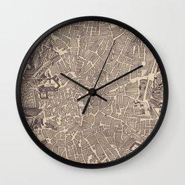 Vintage Map of Madrid Spain (1702) Wall Clock