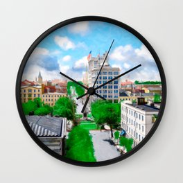 Historic Savannah - Vintage View Over Johnson Square Wall Clock