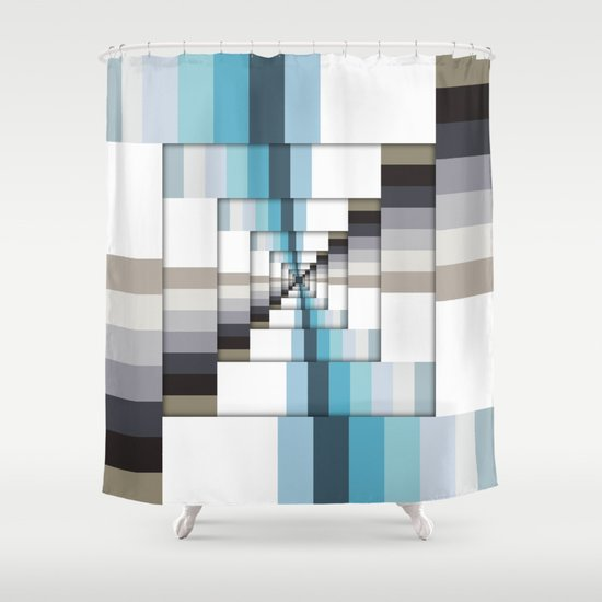retro stripes blue and brown shower curtain by phil
