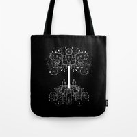 gondor Tote Bags featuring The White Tree by Danny Schlitz