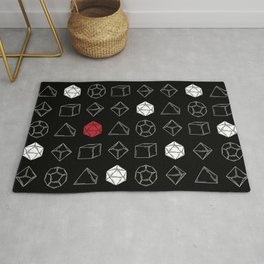 Black Dungeons and Dragons Dice Set Pattern Rug
