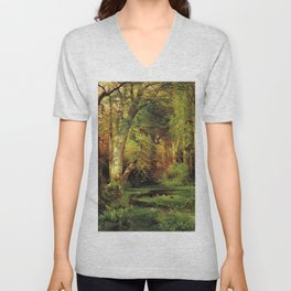 Forest Scene 1870 By Thomas Moran   Dense Woods Watercolor Reproduction Unisex V-Neck