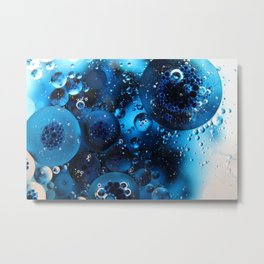 Dark Blue Oil and Water Photography Metal Print