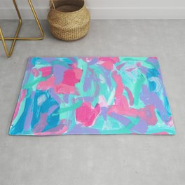Riverside Carnival - abstract painting modern pink blue summer Rug