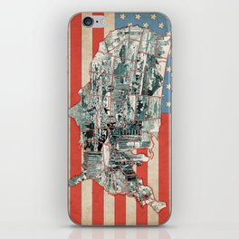 usa map urban city collage iPhone Skin