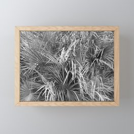 Fan Palm Fronds Greyscale Abstract Framed Mini Art Print