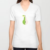 pear V-neck T-shirts featuring Fruit: Pear by Christopher Dina