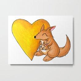 Big Yellow Roo Heart Metal Print