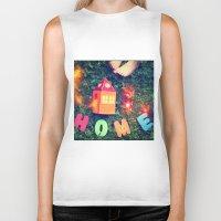 home sweet home Biker Tanks featuring HOME by Julia Kovtunyak