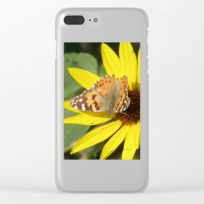 Painted Lady Butterfly Picks Pollen Clear iPhone Case