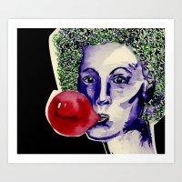 Blow a Big Pink Bubble Art Print