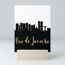 RIO DE JANEIRO BRAZIL DESIGNER SILHOUETTE SKYLINE ART Mini Art Print