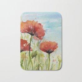 Red Flowers Watercolor Landscape Poppies Poppy Field Bath Mat