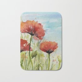 Red Flowers Watercolor Poppies Bath Mat