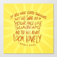 roald dahl Canvas Prints featuring Roald Dahl on Positive Thinking by Josh LaFayette