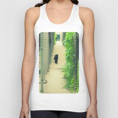 Black Cat With Gangway Ivy  Unisex Tank Top