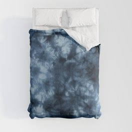 Dark Midnight Blue Boho Tie Dye Pattern Comforters