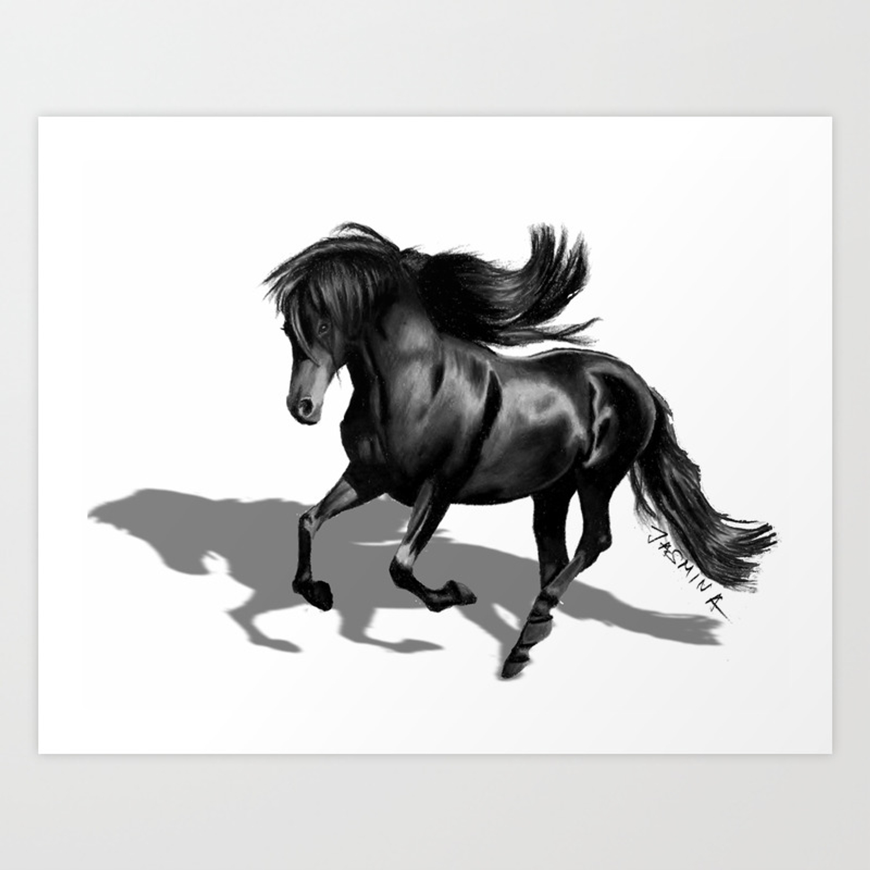 3d pencil drawing of a black horse art print