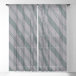 Magic Dust Muted Purple PPG13-24 Thick and Thin Angled Stripes on Night Watch PPG1145-7 Sheer Curtain