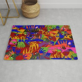 abstract art geometric shape of hands and eyes Rug