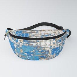 Multi Geometrical Pattern Faded Blues Fanny Pack