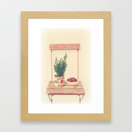 Cranberries and pine tree Framed Art Print