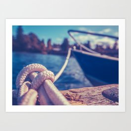 Retro Style Image Of A Yacht In Harbor Art Print