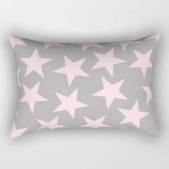 Pink stars on grey background on #Society6 Rectangular Pillow