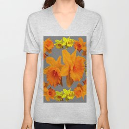 YELLOW-GOLD SPRING DAFFODILS & CHARCOAL GREY COLOR Unisex V-Neck