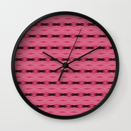 Pink and Black Diamond Pattern Wall Clock