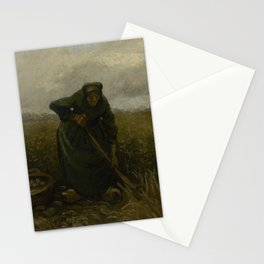 Woman Lifting Potatoes Stationery Cards