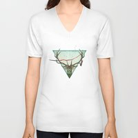 runner V-neck T-shirts featuring scarlet runner by Vin Zzep
