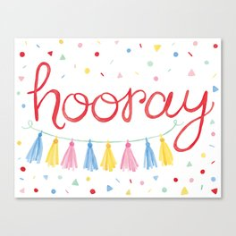 Hooray Confetti Party Art Canvas Print