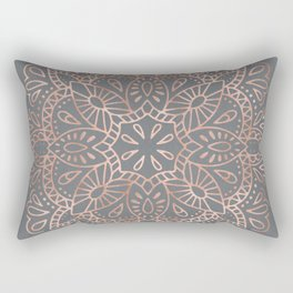 Mandala Rose Gold Pink Shimmer on Soft Gray by Nature Magick Rectangular Pillow