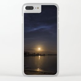 Moonrise Over Keystone Lake OKlahoma Clear iPhone Case