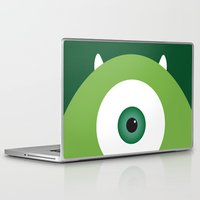 pixar Laptop & iPad Skins featuring PIXAR CHARACTER POSTER - Mike Wazowski - Monsters, Inc. by Marco Calignano