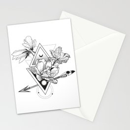 Alchemy symbol with moon and flowers Stationery Cards