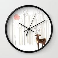 card Wall Clocks featuring Reindeer of the Silver Wood by Poppy & Red