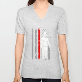 Fireman American Flag Shirt Thin Red Line Firefighter Shirt Unisex V-Neck