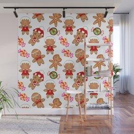 Cute pretty seamless pattern. Happy gingerbread men and sweet xmas caramel chocolate candy. Xmas. Wall Mural