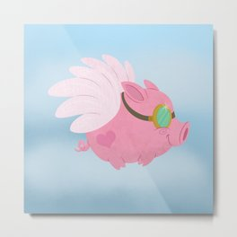 Flying Pink Pig Metal Print