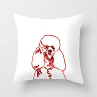 poodle Throw Pillows featuring Poodle by Mike van der Hoorn