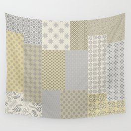 Modern Farmhouse Patchwork Quilt in Gray Marigold and Oatmeal Wall Tapestry