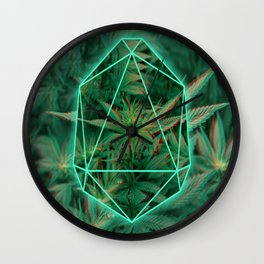 Trippy 3D geometric weed Wall Clock