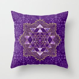 Sri Yantra  / Sri Chakra Gold and Amethyst Throw Pillow