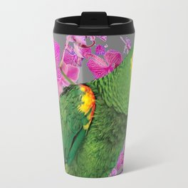TROPICAL GREEN PARROT & FUCHSIA ORCHIDS  GREY ART Travel Mug