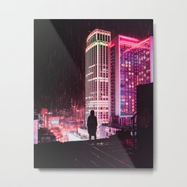 City Hall Rainy Night Metal Print