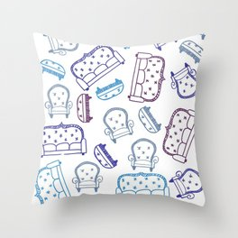 Falling Couches Throw Pillow