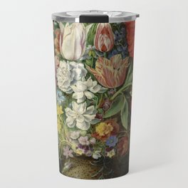 """Osias Beert """"Flowers in a German tigerware vase, with a bluebottle fly and a Red Admiral butterfly"""" Travel Mug"""