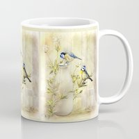 tits Mugs featuring English Blue Tits by Trudi Simmonds